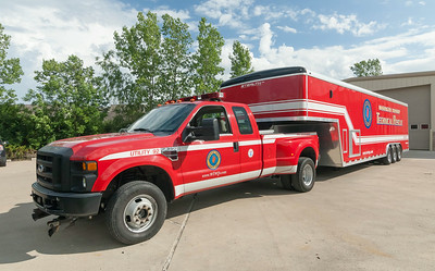 Washington Twp Fire Dept UT-92 2007 F-350 & Washington Twp Fire Dept Haz93Mat 2007 Wells Cargo Trailer a